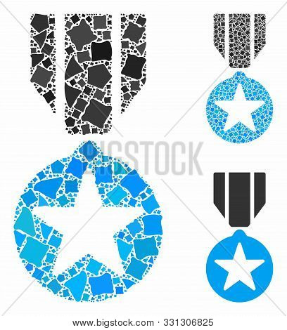 Army Star Award Mosaic Of Trembly Pieces In Different Sizes And Shades, Based On Army Star Award Ico