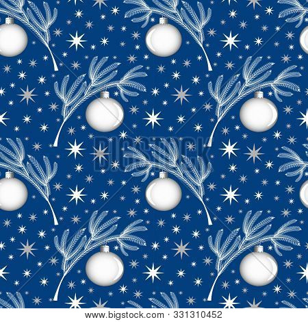 Seamless Pattern White Coniferous Christmas-tree Branch On A Blue Background With A Christmas-tree T