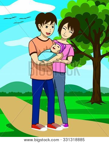 Husband, Wife, And Newly Born Child Are Walking In The Park.  The Father Is Carrying The Child And T