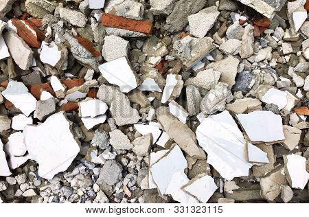 Background Pattern, Pile of Demolished Concrete Rubble Debris on Building Waste Clearance Construction Site. poster