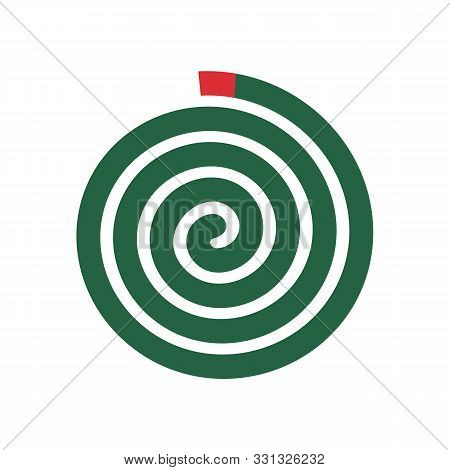 Mosquito Repellent Coil Illustration, Green Spiral Insect Repellant - Vector