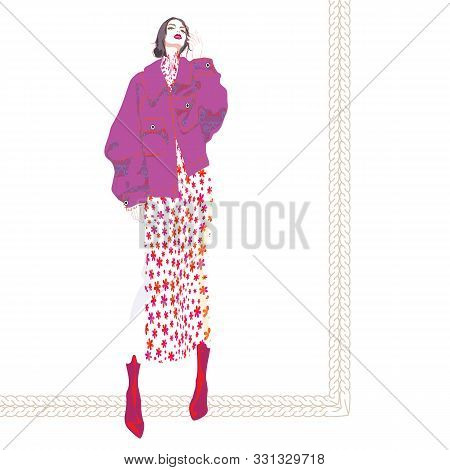 Fashion Illustration Of Young, Beautiful Woman With Messy Low Chignon, Oversized Mulberry Jacket, Fl