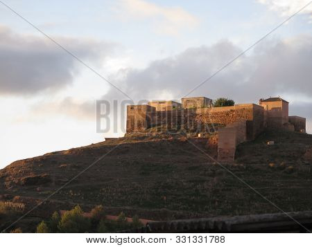 Alora, Spain - November 1, 2019: Back View Of Arabic Castle In Alora Village, Andalusia