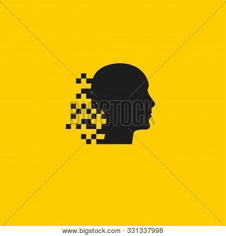 Head With Pixel Logo, Human Digital Brain Icon, Black Vector Mind Sign, Infirmation And Development,
