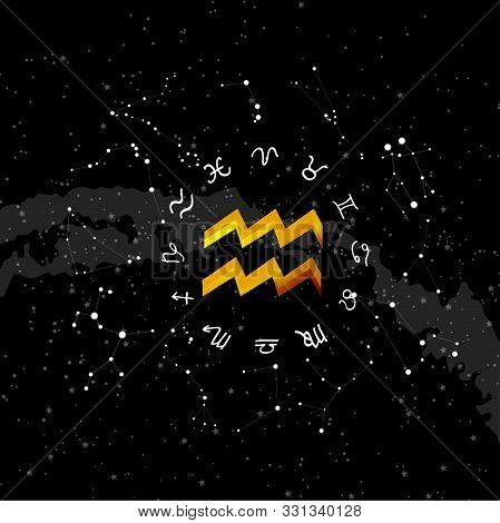Constellation Aquarius Of The Zodiac. Zodiac Signs Set Of Illustrations On The Background Of A Starr