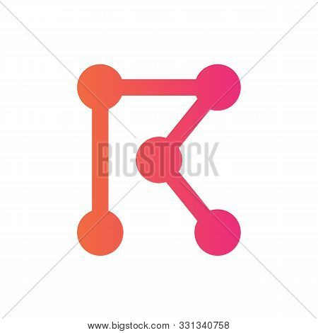 Initial Letter R Technology Logo, Abstract Dot Connection Concept, Digital Vector Illustration