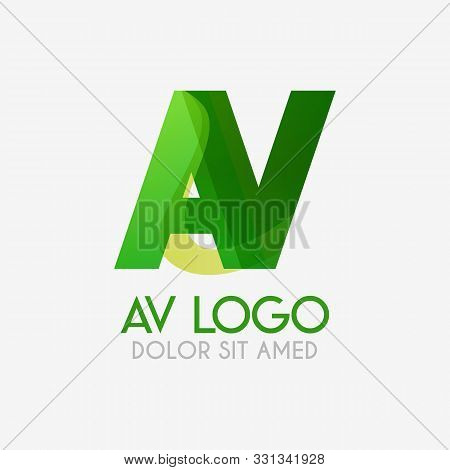 The Av Logo With Striking Colors And Gradations, Modern And Simple For Industrial, Retail, Business,