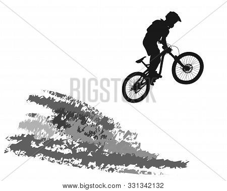 Silhouette Of A Jumping Cyclist On An Abstract Mountain Background. - Vector