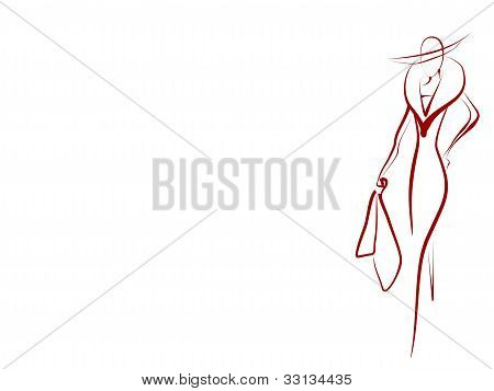 silhouette of a glamorous woman