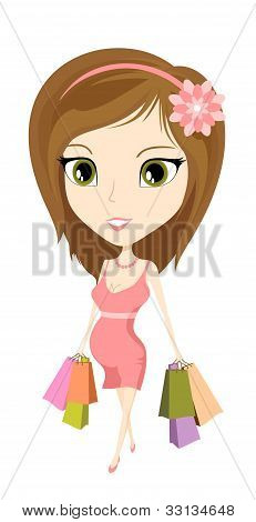 Pregnant woman and shopping