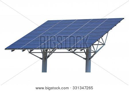 Solar Panel Isolated On White Background. Wide Installation On Two Columns