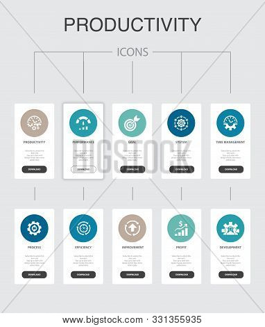 Productivity Infographic 10 Steps Ui Design.performance, Goal, System, Process Simple Icons