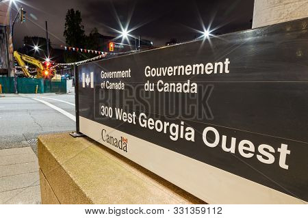 Vancouver, Bc, Canada - Oct 05, 2019: Government Of Canada Building On West Georgia Street In Downto