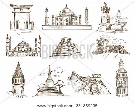 World Landmarks Famous Buildings And Architecture Isolated Sketches