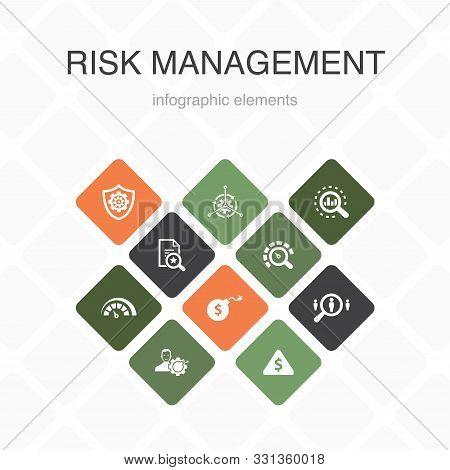 Risk Management Infographic 10 Option Color Design. Control, Identify, Level Of Risk, Analyze Simple