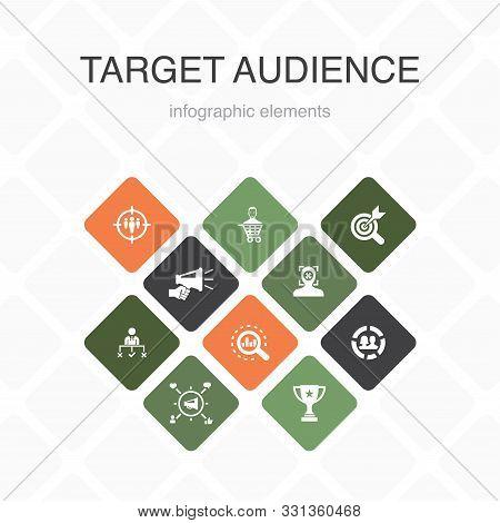 Target Audience Infographic 10 Option Color Design. Consumer, Demographics, Niche, Promotion Simple