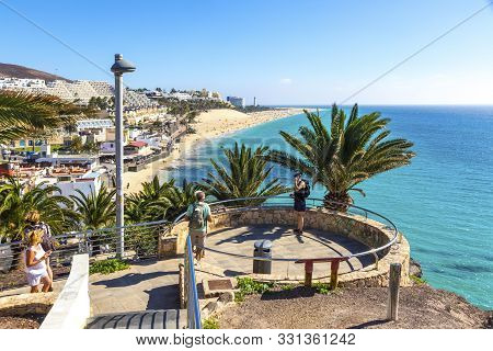 Canaries, Spain - December 9, 2018: Viewpoint Above The Morro Jable Beach On Fuerteventura Island, C