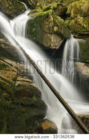 Potoka Falls In Super Green Forest Surroundings, Czech Republic