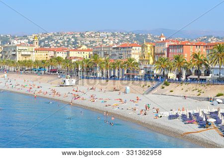 Nice, France. View Of The City In A Sunny Summer Morning