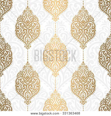Gold And White Damask Seamless Pattern. Vintage, Paisley Elements. Traditional, Ethnic, Turkish, Ind