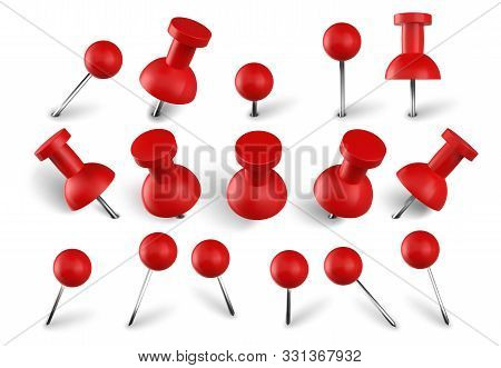 Realistic Red Push Pins. Attach Buttons On Needles, Pinned Office Thumbtack And Paper Push Pin Vecto