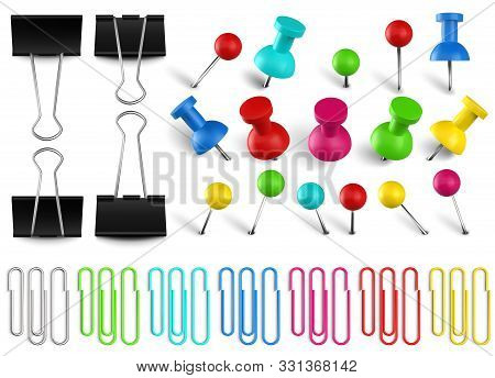 Colorful Pushpins And Paperclips Binders. Color Paper Clip, Red Pushpin And Office Papers Clamp. Rea