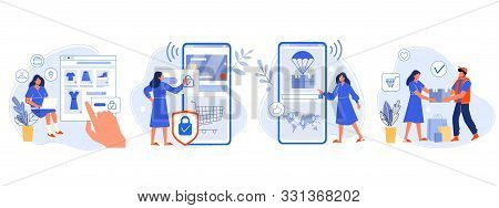 Online Shopping. Buyer Picked Goods, Paid For Mobile Banking, Tracking Parcel Package And Customer D