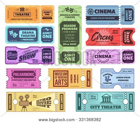 Retro Tickets. Circus, Cinema And Theatre Admit One Ticket. Vintage Admission Coupon, Concert And Mo