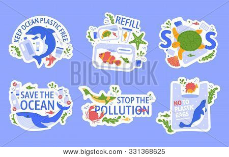 Ocean Pollution With Plastic. Protecting Marine Wildlife, Eco Problem Creative Concept. Turtle, Dolp