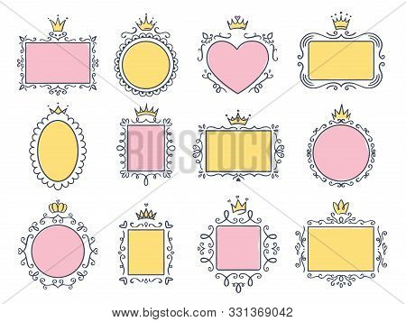 Cute Princess Frames. Pink Mirror Frame With Princesses Crown, Majestic Hand Drawn Text Borders And