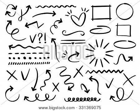 Sketch Arrows And Frames. Hand Drawn Arrow, Doodle Divider And Circle, Oval And Square Frame Vector