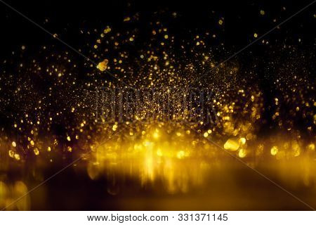 Golden Glitter Bokeh Lighting Texture Blurred Abstract Background For Birthday, Anniversary, Wedding