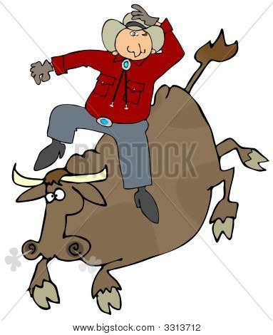 This illustration depicts a cowboy riding a bull. poster