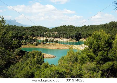 Elevated View Across The Treetops Towards Guadalhorce Lake And Mountains, Ardales, Malaga Province,