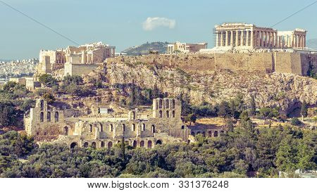 Acropolis With Famous Parthenon, Athens, Greece. It Is Top Landmark Of Athens. View Of Remains Of An