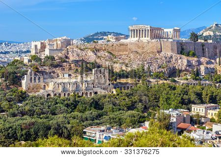 Athens Cityscape In Summer, Greece. Acropolis Hill With Famous Old Parthenon, Top Landmark Of Athens