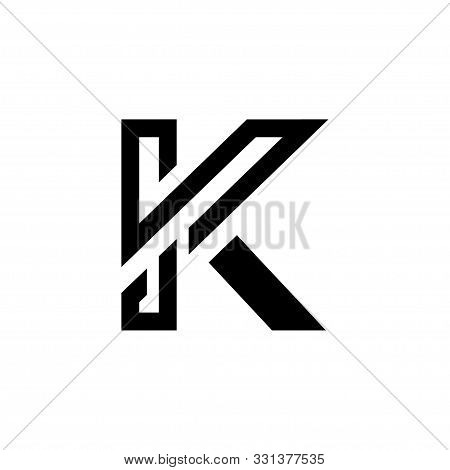 Modern Luxurious Letter K Black And White Logo, Minimalist Elegant Line K Letter Logo Icon Emblem Mo