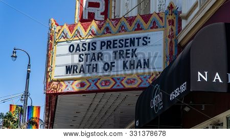 San Francisco, Usa - August 2019: Star Trek Wrath Of Khan Playing In Castro Theater
