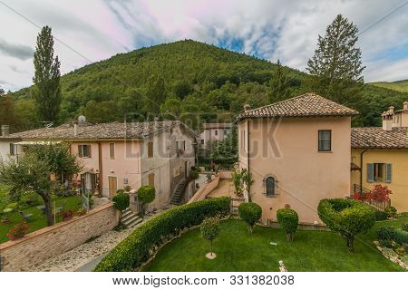 Rasiglia, Italy - October 9, 2019: Panoramic View Of Rasiglia Mountain Small Village In The Heart Of