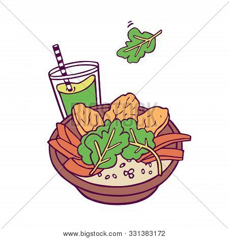 Healthy Bowl And Green Smoothie. Hand-drawn In Cartoon Style, Colored Artwork Isolated On White Back