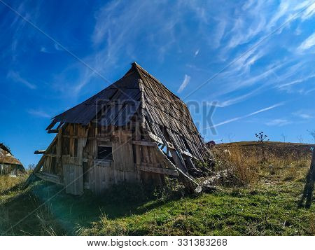 Abandoned Ruin Old Traditional Style Architecture Wooden Cabin Hut In The Isolated Mountain Village