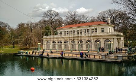 Brooklyn, Ny - April 1, 2018 - The Prospect Park Boathouse, Built In 1905 In The Beaux Arts Style, A