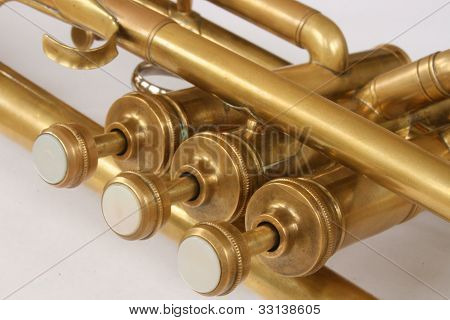 Vintage Brass Trumpet Valves and Tubes