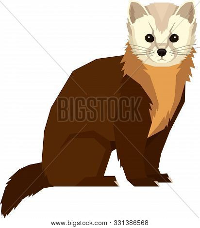 Wild Animals Vector Illustration Pine Marten Isolated Object Geometric Style Set