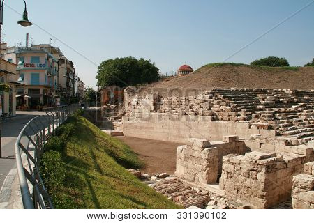 Larissa, Greece - September 8, 2011: Ancient Amphitheater In The Archeological Area Of Larissa, Thes