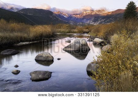 Fall Sunrise On The Big Thompson River In Rocky Mountain National Park