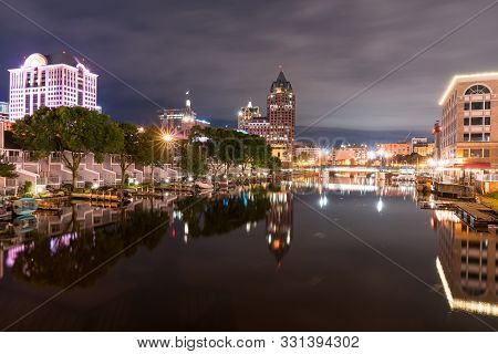 Milwaukee, Wisconsin Night Skyline Along The Milwaukee River