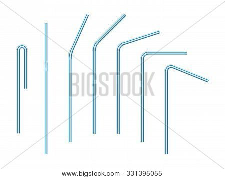 Vector Realistic Drinking Straws Striped For Milk Drinks, Cocktails Or Alcohol. Set Of White-blue Dr
