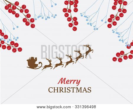 Vector Illustration Of Christmas Background With Santa.
