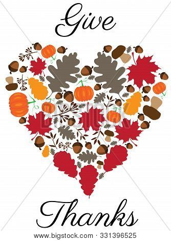 Vector Illustration Of Thanksgiving Heart With Leaves, Pumpkins.